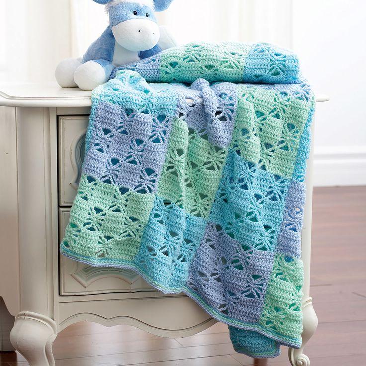 Bernat Blanket Yarn Free Pattern 3 Color Crochet Blanket