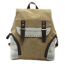 Fansela(TM) Womens Aztec Print Canvas Leather College School Backpack Travel bag (Khaki)