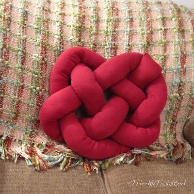 DIY Celtic Knot Heart Pillow: Tried Inspiration: http://2.bp.blogspot.com/-9QRX0qD0Beg/TyHVHRn9zVI/AAAAAAAAAr4/VsDkJVr9rWo/s320/original+knot+pillow+from+design-milk.jpg