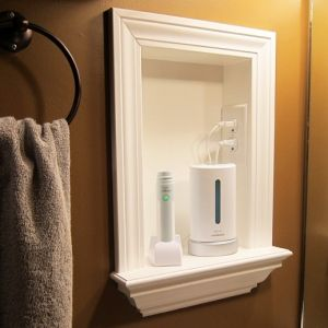 Remove Medicine Cabinets And Add A Built In Shelf And Put An Outlet In Bathroom