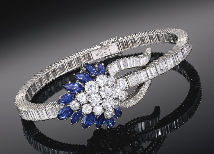 Lady's Platinum, Diamond And Sapphire-Set Bracelet Watch With Concealed Dial c. 1955 - Sotheby's