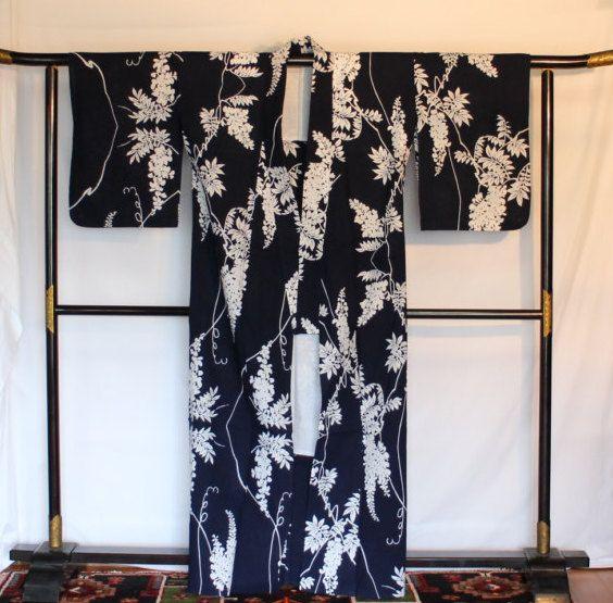Cotton Yukata, Vintage Japanese Cotton Summer Kimono, Indigo Blue Yukata, Wisteria Decorated, Japanese Robe, Free Shipping by KominkaFabricsJapan on Etsy