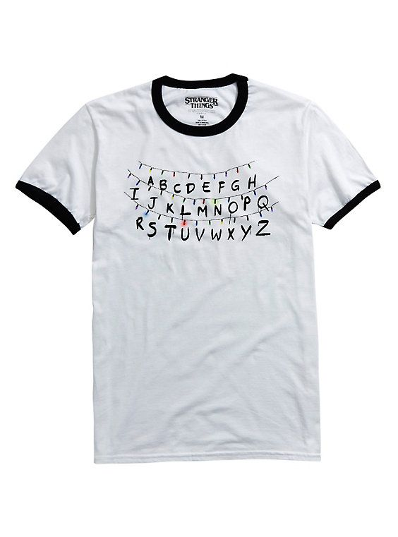 Stranger Things Holiday Lights Ringer T-Shirt, WHITE SMALL