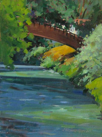 Bridge at Scheggino -plein air oil waterscape painting of a river and bridge in Umbria, Italy  by artist Jill Stefani Wagner  www.jillwagnerart.com