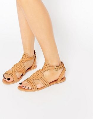 Кожаные плетеные сандалии ASOS FAN