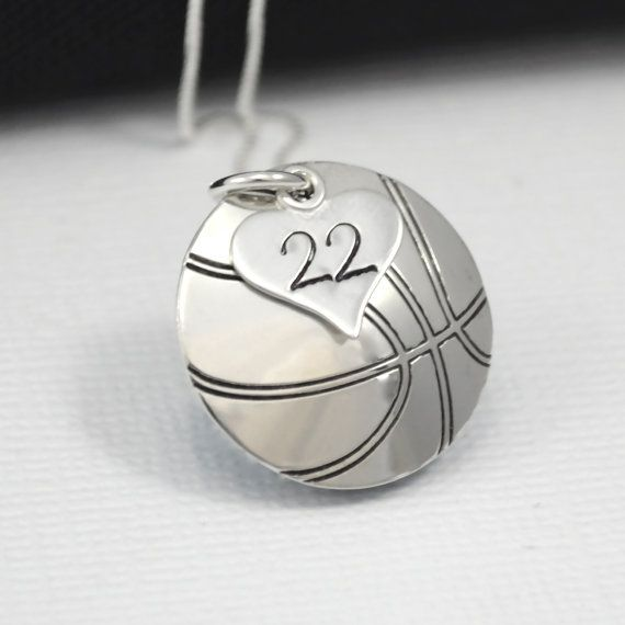 HandStamped Basketball Necklace with Heart by DesignMeJewelry