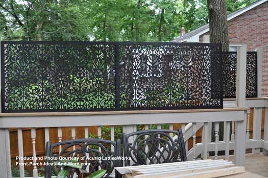 Love the privacy this lattice panel provides. Interesting design too. on Front-Porch-Ideas-and-More.com #decks