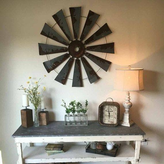 Farmhouse metal windmill  wall decor 38 inch round - gift- windmill blades