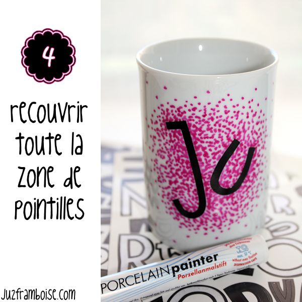 diy un mug personnalis en pointill s tuto diy pinterest cadeaux maitresse. Black Bedroom Furniture Sets. Home Design Ideas
