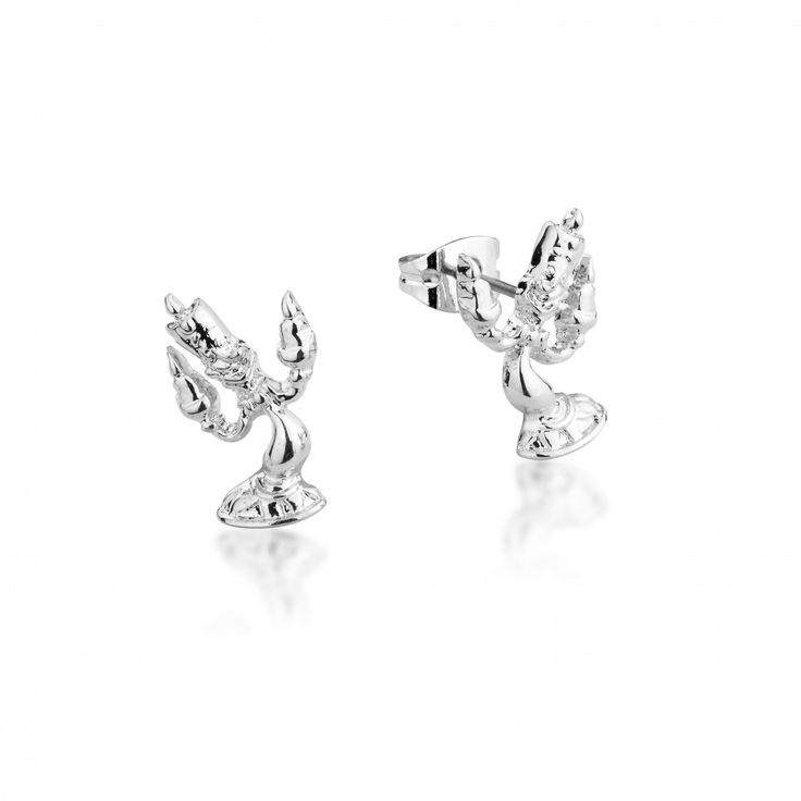 Disney Couture Beauty & the Beast White Gold-Plated Lumiere Candle Stud Earrings