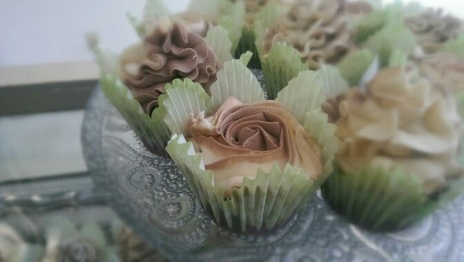 Gluten free mint chocolate cupcakes with vanilla and chocolate mint swirl roses