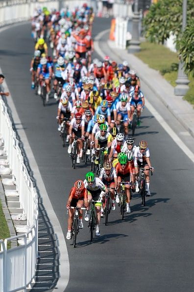 Bikers compete during the Women Elite Road Race as part of the 2016 Road World Championship organized by Union Cycliste Internationale in Doha Qatar...