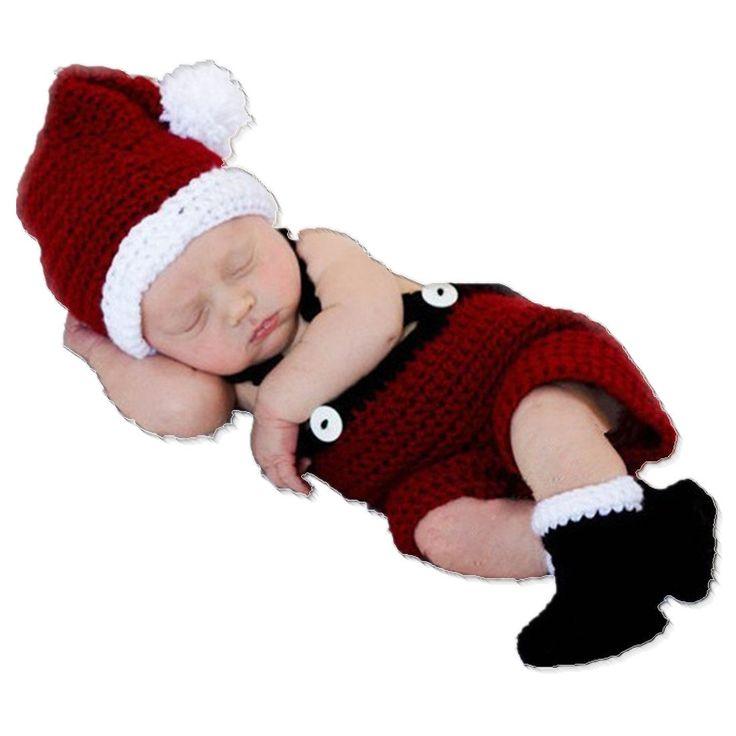 Amazon.com : Kalevel® Soft Handmade Crochet Knit Baby Photo Props, Baby Photograph Props, Baby Photograph, Infant Newborn Cute Baby Christmas Outfits, Newborn Xmas Outfit, Christmas Costumes for Baby, Santa Claus Costume for Baby Boy (0-9 Months, Hat + Cloth + Shoe) : Clothing