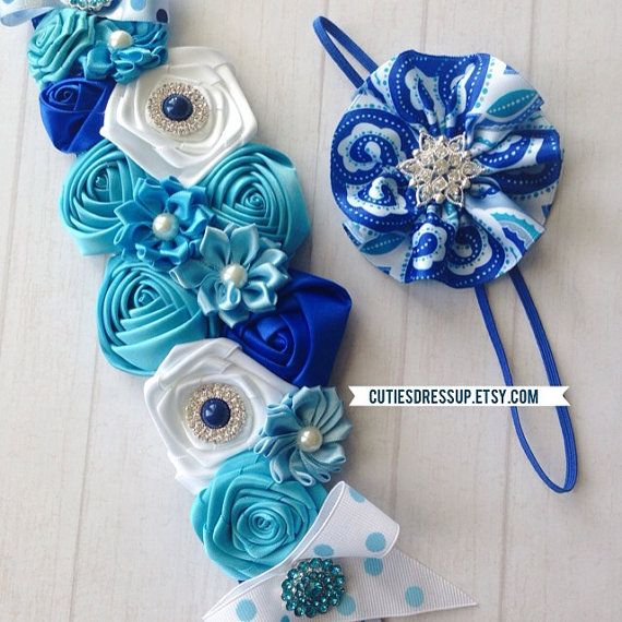 Maternity sash , belly belt , pregnancy sash , pregnancy belt , flower belt 2pc set belt and headband on Etsy, $42.00