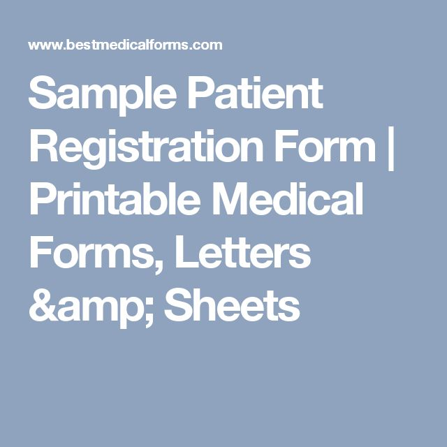 Sample Patient Registration Form | Printable Medical Forms, Letters & Sheets
