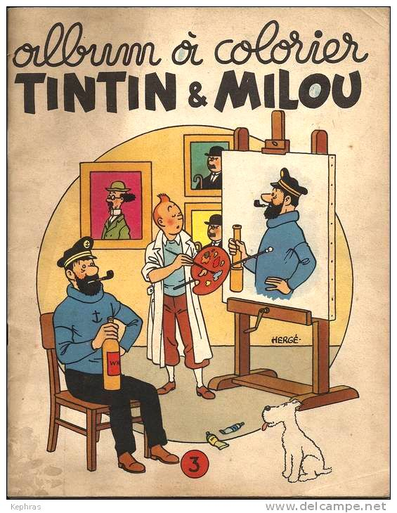 Tintin and Snowy, well it seems Tintin is making a portrait of Captain Haddock.