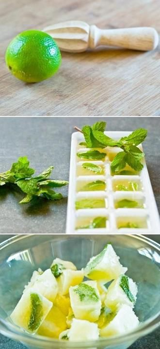 Frozen lime and mint cubes! Ready for mojito or refreshing drinks!  Brilliant!