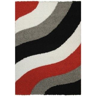 Shop For Maxy Home Shag Block Striped Waves Red Black White Grey Area Rug (5