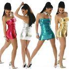 Club dress Footless Metallic Miniskirt Liquid Wet Tight Shiny Step skirt Color: Gold