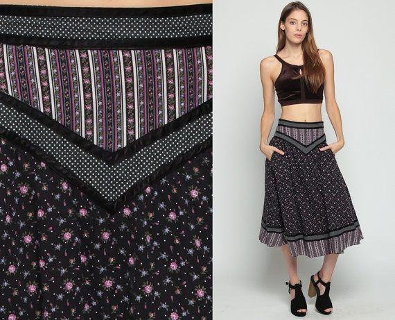 Gunne Sax Skirt Floral 70s Prairie Skirt Calico Print Midi Bohemian 1970s Boho Hippie High Waist Vintage Tiered Western Black Small