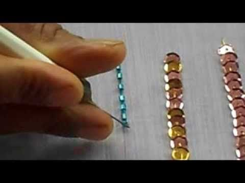▶ AARI / TAMBOUR /MAGGAM EMBROIDERY: how to sew bungle bead with a aari needle - YouTube