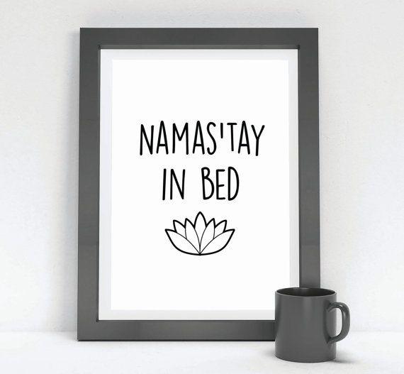 Typographic Art Namas'tay In Bed Wall Art Namaste by InspireEmpire