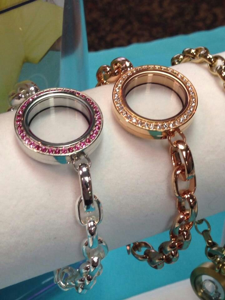 Origami Owl new link locket bracelets - pink crystal silver & rosegold - Spring 2014 Collection www.meghangaska.origamiowl.com
