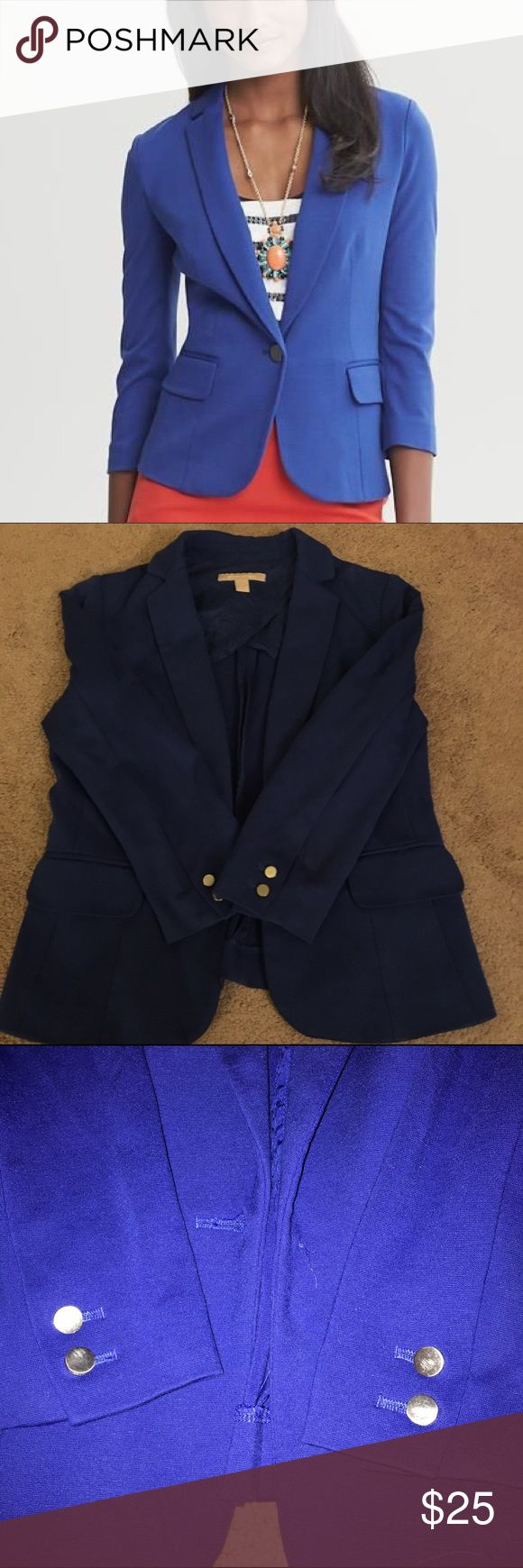 Banana Republic Cobalt Blazer 0 Excellent condition Blazer, middle closure button missing. No additional signs of wear. Hip length. 3/4 sleeves. Reasonable offers accepted, no trades. Smoke/pet free home. Banana Republic Jackets & Coats Blazers