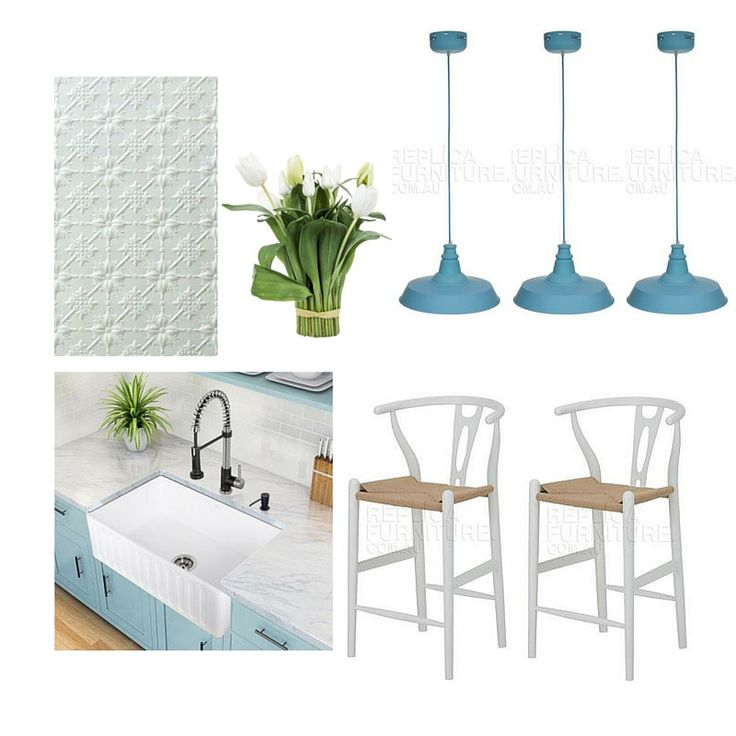 Country Style Kitchen Mood Board   Get the look here:  http://www.replicafurniture.com.au/wishbone-counter-stool-white.html  http://www.replicafurniture.com.au/replica-industrial-funnel-pendant-lamp-blue.html
