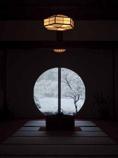 The snowy view from the window of Meigetsu-in temple, Kamakura, Japan #Japan #craft