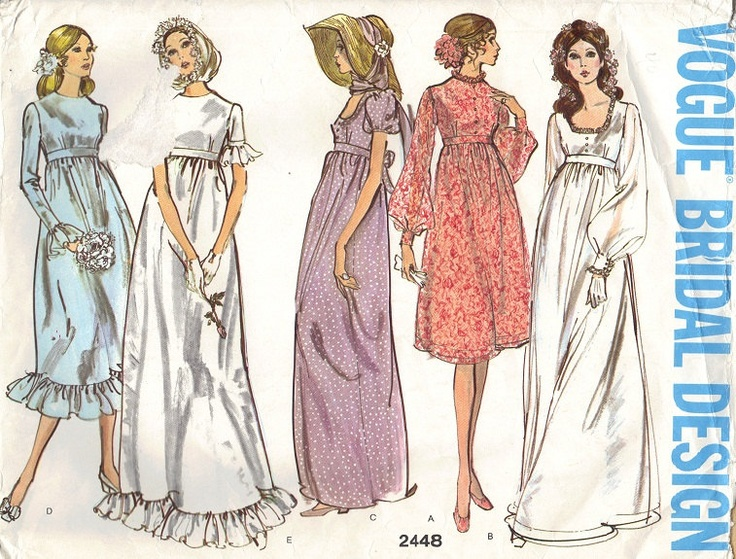 Vintage Vogue Bridal Design Retro 70s Second from right, in long length. Wedding Dress Bridesmaid Gown Empire Waist Ruffle Hem long Short, Sleeves Basic Bride Uncut Bust 34. $26.50, via Etsy.