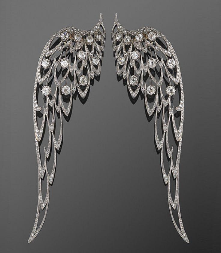 Edwardian Platinum and Diamond Wing Brooches, circa 1900