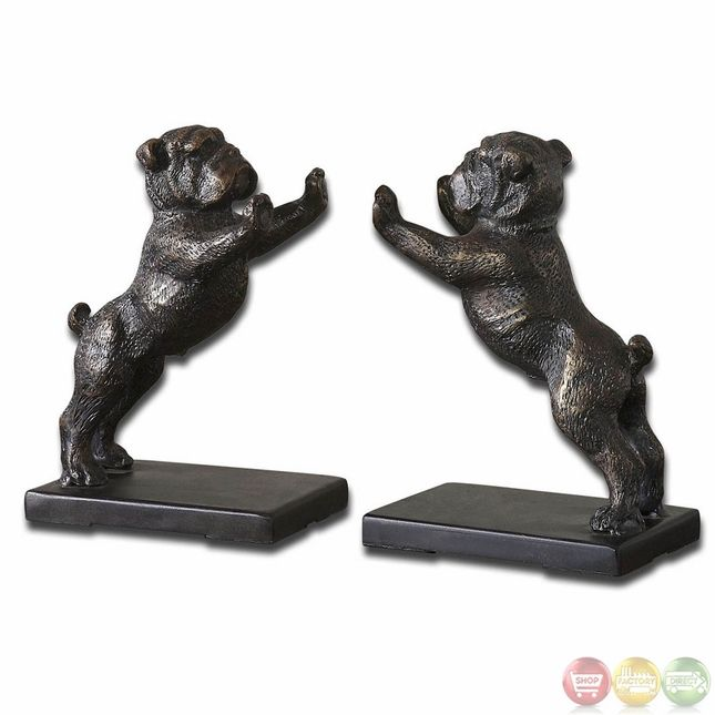 Bulldogs Traditional Set of 2 Cast Iron Bookends 19643