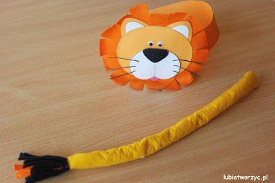 Przebranie lwa - papierowa opaska na głowę i filcowy ogon (całość w wersji DIY)