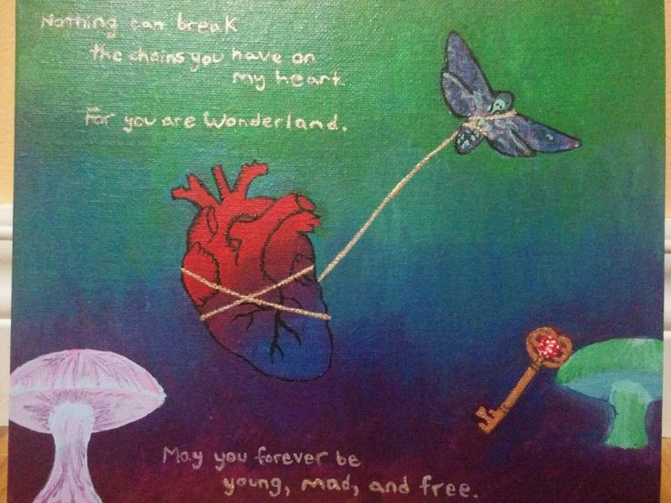 """July 2016, based on A.G. Howard's """"Splintered"""" series """"Nothing can break the chains you have on my heart. For you are Wonderland."""" """"May you forever be young, mad and free."""""""