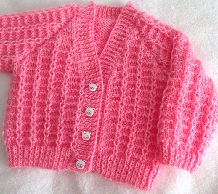 I made the Blue cardigan for my nephew and my niece said it felt soft and squishy, and all little girls should have one as well. Good job it is nice and easy to do, with all the knitting I have on the go. I loved the Fushia colour instead of baby pink for a change. This is my second one in the fushia colour. One very happy niece now, although she has giving my orders for a short sleeve cardigan.