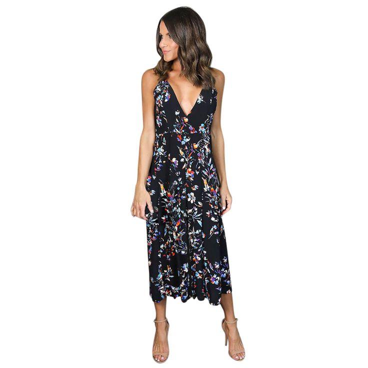 2017 Women V Neck Boho Long Maxi Evening Party Dresses Backless Sling Floral Print Beach Dress vestidos mujer #63