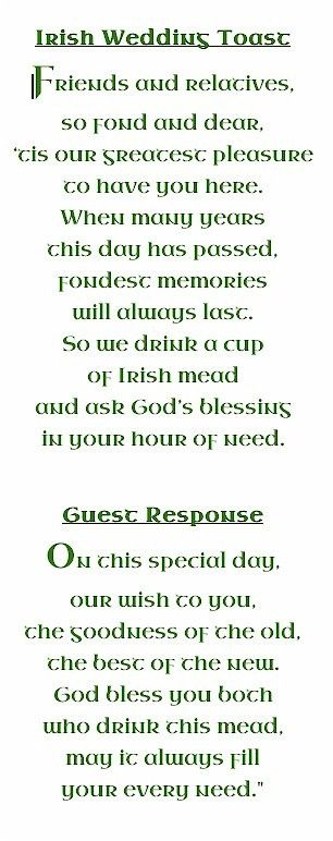 An Irish Wedding Toast. I would love to take this and play around with it for a Norse/heathen wedding toast.