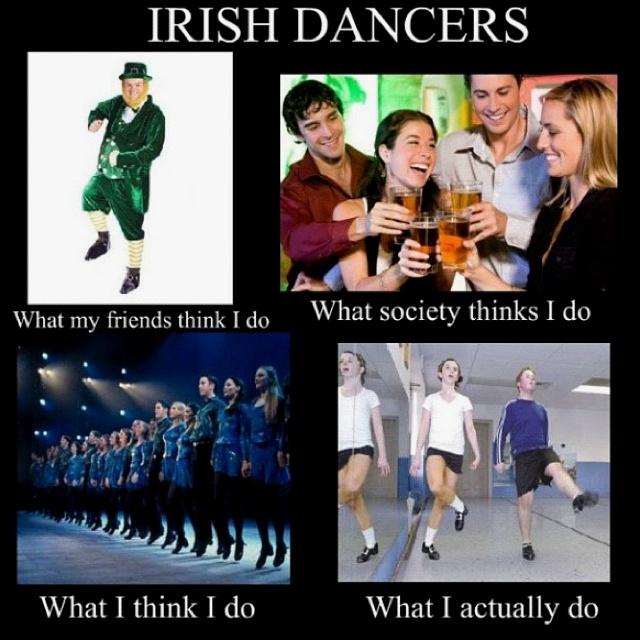 """so true! but I think more people, when someone says """"irish dancing"""", think of the bottom left image as well."""