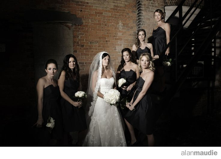 Urban bridal portrait, brick wall, bridesmaids, Calgary Wedding, Calgary Wedding Photographer