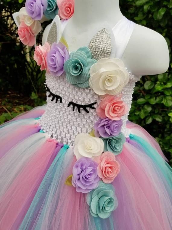 Niños Niñas Unicornio Tutu Vestido Pastel Arco Iris Flor Chica Etsy Disfraz De Unicornio Vestidos De Tutú De Princesa Vestidos De Fiesta De Cumpleaños