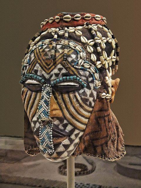 Mask (Ngady Amwaash) Kuba Kasai region Democratic Republic of Congo Late 19th - mid-20th century CE Wood pigment glass beads cowrie shells f...
