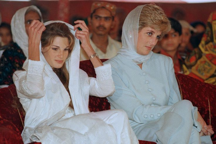 Diana and Jemima Khan attend a variety show in Lahore in February 1996