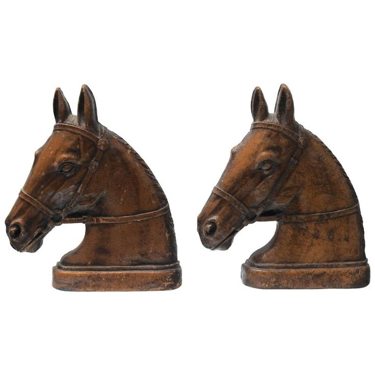 Pair of Mid-Century Syroco Horse Bookends | From a unique collection of antique and modern desk accessories at https://www.1stdibs.com/furniture/decorative-objects/desk-accessories/