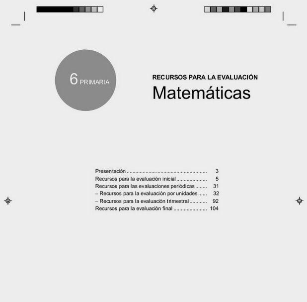 Evaluación matemáticas 6º EP Santillana
