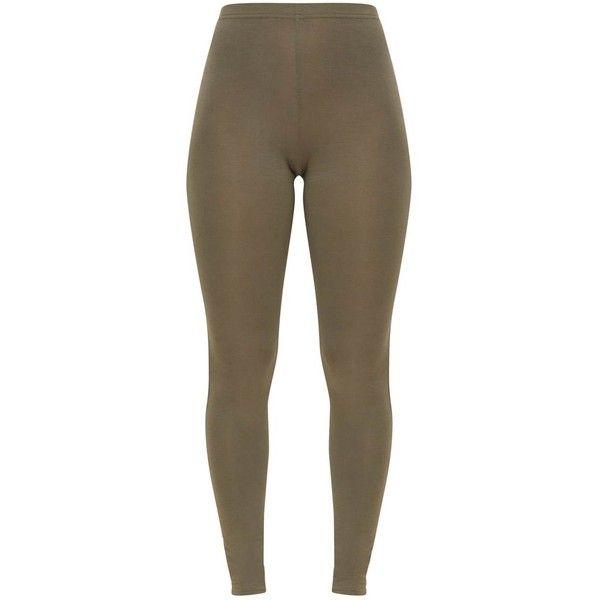 Basic Khaki Leggings ($8) ❤ liked on Polyvore featuring pants, leggings, brown khaki pants, brown leggings, brown trousers, brown pants and khaki pants