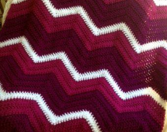 chevron zig zag ripple baby blanket afghan wrap crochet knit wheelchair stripes VANNA WHITE yarn berry burgundy cranberry valentine AMERICA
