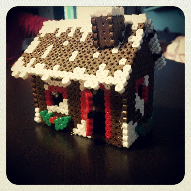 3D Christmas gingerbread house hama perler beads by twixdk79