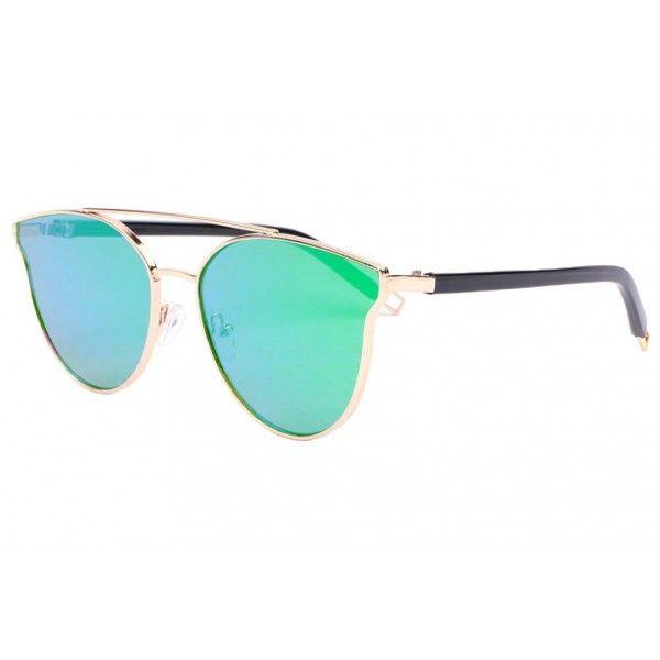 a55e7c15a3 Lunettes soleil miroir bleu vert tendance Miora de la marque Spirit Of Sun,  lunette de soleil femme fashion monture métal doré verre effet miroir bleu  ...