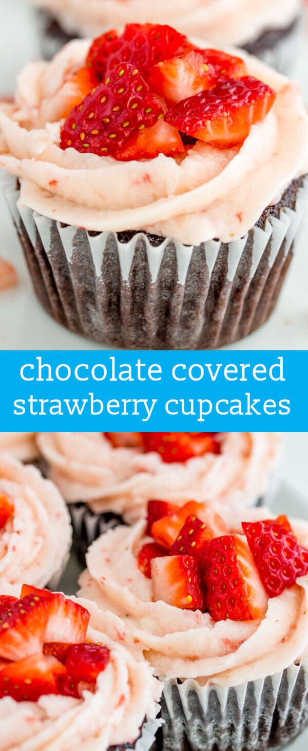 Chocolate Strawberry Cupcakes {From-Scratch Chocolate Cupcakes w/ Strawberry Buttercream} homemade chocolate cupcake / strawberry frosting via @tastesoflizzyt